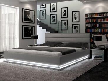 Lit NUBIS - 160x200cm - Simili argent avec LEDs