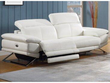 Canapé 3 places relax électrique en cuir PUNO - Blanc