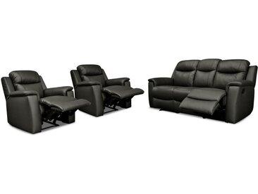 Canapé 3 places et 2 fauteuils relax EVASION en cuir - Noir