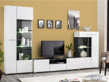 Mur TV TIMEO avec rangements - MDF - LEDs - Coloris Blanc & Wengé