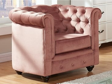 Fauteuil CHESTERFIELD - Velours rose pastel