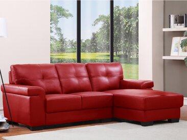 Canapé d'angle en cuir HAZEL - Rouge - Angle droit