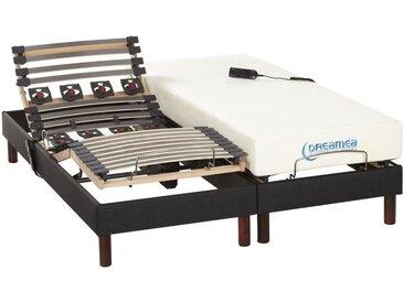 Lit électrique relaxation lattes et plots matelas mémoire de forme tissu anthracite JASON de DREAMEA - 2 x 80 x 200 cm