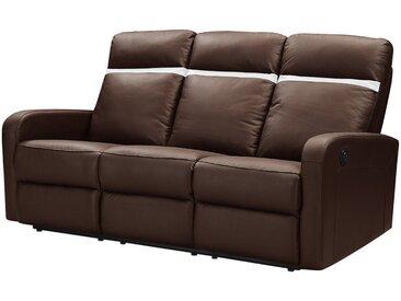 Canapé 3 places relax électrique en cuir ABERDEEN - Marron et bande ivoire