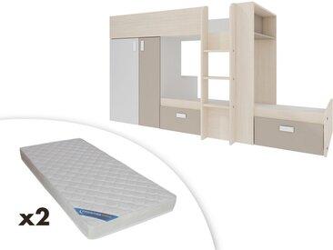 Lits superposés JULIEN - 2x90x190cm - Armoire intégrée - Blanc et taupe + 2 matelas ZEUS 90x190