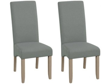 Lot de 2 chaises ROVIGO - Tissu gris - Pieds bois clair