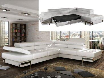 Canapé d'angle convertible en simili DAMIEN - Blanc - Angle droit