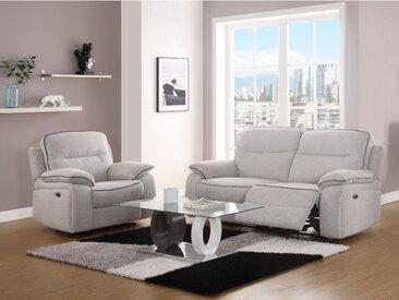 Canapé 3+1 places relax électrique en tissu CATANE - Gris clar et passepoil noir