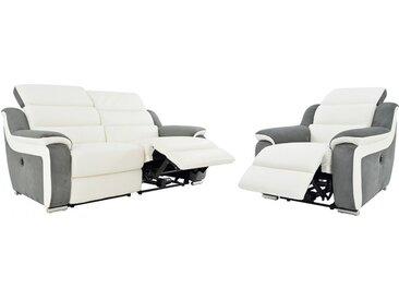 Canapé 3+1 places relax électrique en cuir et microfibre ARENA II - Blanc/gris