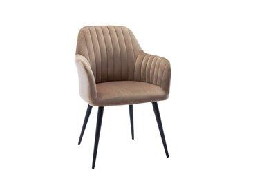 Chaise avec accoudoirs ELEANA - Velours & Métal Noir - Beige