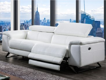Canapé 3 places relax électrique en cuir avec têtières BREYT - Blanc