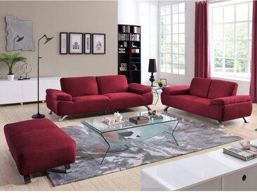 Canapé 3+2+1 places en microfibre POLKA - Rouge