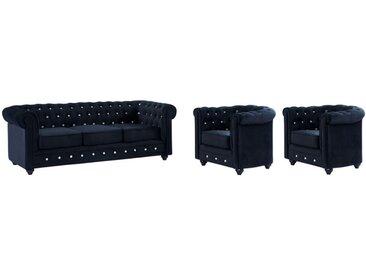 Canapé 3 places et 2 fauteuils CHESTERFIELD - Velours noir et boutons effet cristal