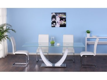 Ensemble table MEZZO + 4 chaises LIRICA - blanc