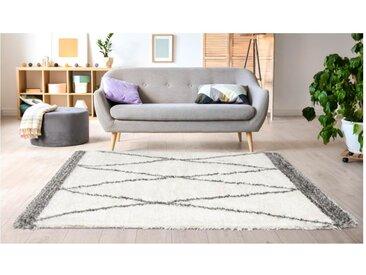 Tapis shaggy style berbère HANIA - 200 x 290 cm - beige et gris