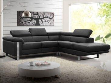 Canapé d'angle en cuir MYSTIQUE - Noir - Angle droit