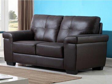 Canapé 2 places en cuir HAZEL - Marron
