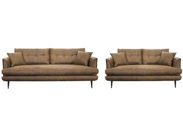 Canapé 3+2 places GANESH en microfibre aspect cuir vieilli