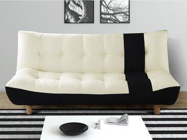 Canapé clic-clac 3 places en simili et tissu VINCENT - Noir et blanc