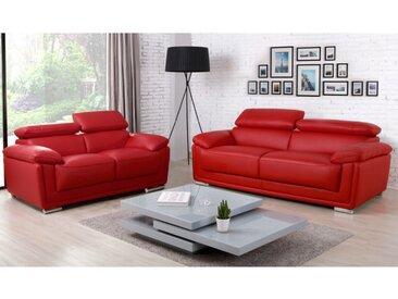 Canapé 3+2 places cuir de vachette MISHKA - Rouge