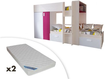Lits superposés JULIEN - 2x90x190cm - Armoire intégrée - Pin blanc et Fuchsia + 2 matelas ZEUS 90x190