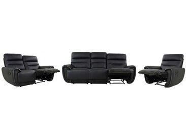 Canapé 3+2+1 places relax COSMY en cuir et détails microfibre - Noir