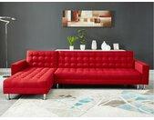 Canapé d'angle convertible et réversible en tissu WILLIS - Rouge
