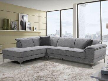 Canapé d'angle TIANZI en tissu - Gris clair chiné - Angle gauche