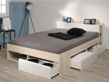 Lit DEBAR avec rangements et tiroirs - modulable 160x200 cm - Acacia et blanc