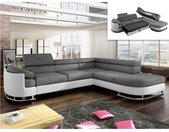 Canapé d'angle convertible en tissu et simili MYSEN - Blanc et gris - Angle droit