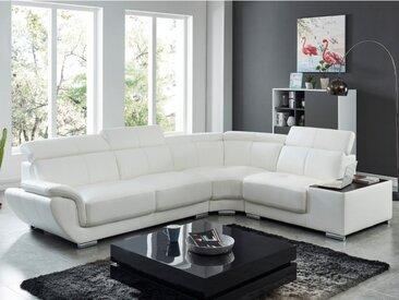 Canapé d'angle en cuir NAHIA - Blanc - Angle droit