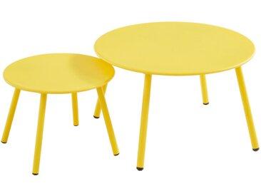 Tables gigognes de jardin MIRMANDE en métal - Jaune