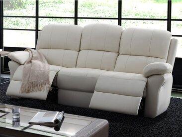 Canapé 3 places relax en cuir MILAGRO - Ivoire