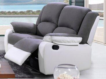 Canapé 2 places relax en microfibre et simili BILSTON II - Gris et blanc