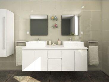 Meubles de salle de bain LAVITA II suspendus avec double vasque et miroirs - Blanc