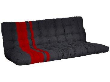 Futon MODULO spécial banquette-lit - 135x190cm - coloris noir et rouge