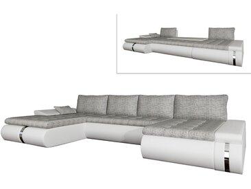 Canapé d'angle panoramique convertible et réversible en tissu et simili AZELMA - Blanc et gris