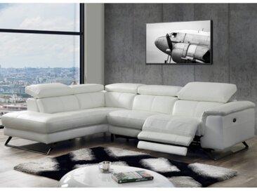 Canapé d'angle relax électrique en cuir avec têtières BREYT - Blanc - Angle gauche