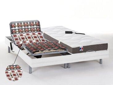 Lit électrique relaxation tout plots matelas 100% latex 5 zones JUPITER de DREAMEA - blanc - 2x80x200cm - moteurs OKIN