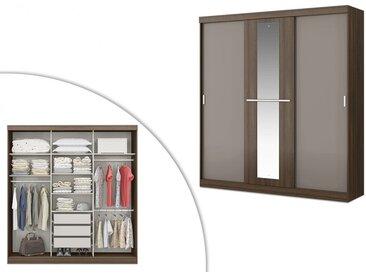 Armoire DIDDA - 3 portes coulissantes - Avec miroir - L205cm - Marron et taupe