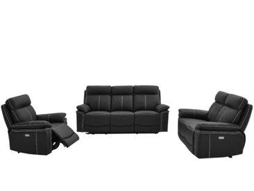 Canapé 3+2+1 places relax électrique en cuir de vachette ISIRIS - Noir