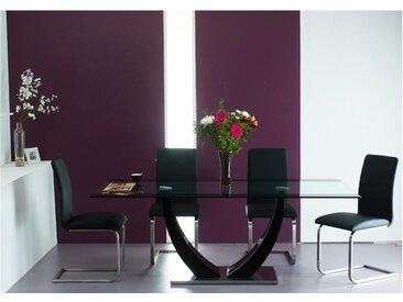 Ensemble table MEZZO + 4 chaises LIRICA - noir