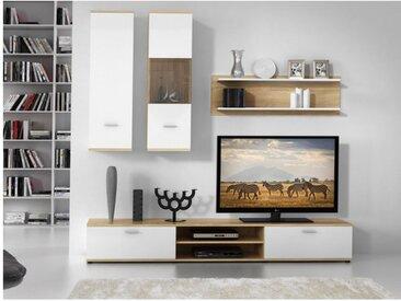 Mur TV JEREMIAH avec rangements - Coloris: Blanc & chêne
