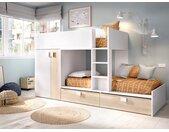 Lits Superposés JUANITO - Armoire intégrée  - 2 x 90 x 190 cm - Blanc et chêne