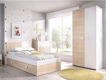 Lit gigogne SONIA - 2 x 90 x 190 cm - Coloris : Chêne et blanc