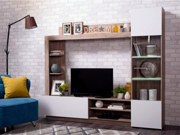 Mur TV ARKALA avec rangements - LEDs - Blanc & Chêne