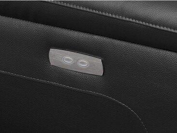Canapé d'angle relax électrique en cuir OLBIA - Noir - Angle droit