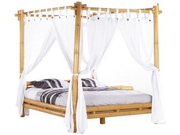 Lit à baldaquin MALINDI avec voilage - 160x200cm - Bambou