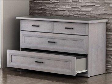 Commode MAELIS - 4 tiroirs - Finition chêne blanchi et plateau effet béton