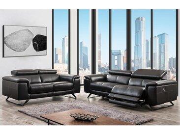Canapé 3 places relax électrique en cuir avec têtières BREYT - Marron